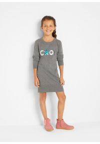 Sukienka dzianinowa dziewczęca z cekinami bonprix szary melanż. Kolor: szary. Materiał: dzianina. Wzór: melanż