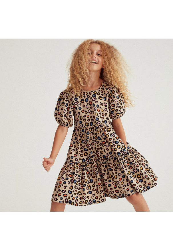 Reserved - Bawełniana sukienka - Wielobarwny. Materiał: bawełna