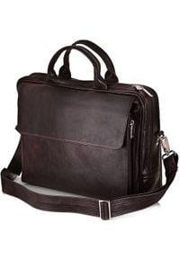 Torba Solier Skórzana męska torba, na laptop Solier REMI brązowa. Kolor: brązowy. Materiał: skóra