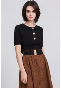 Czarny sweter Monnari z krótkim rękawem, krótki