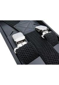 Modini - Szerokie czarne szelki męskie do spodni XL129. Kolor: czarny. Materiał: skóra, guma