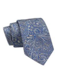 Klasyczny Krawat Niebiesko-Beżowy Wzór Paisley, Orientalny, Męski, Elegancki, 7 cm -Angelo di Monti. Kolor: niebieski. Materiał: tkanina. Wzór: paisley. Styl: klasyczny, elegancki