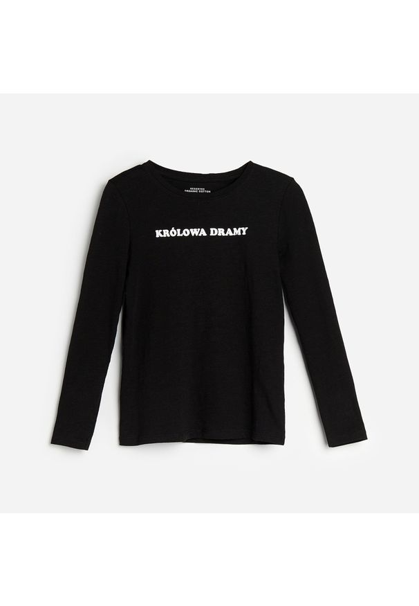 Czarna bluzka z długim rękawem Reserved z napisami
