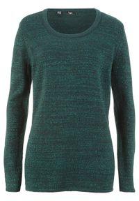 Zielony sweter bonprix długi, z długim rękawem, melanż