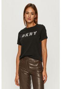 Czarna bluzka DKNY na co dzień, z nadrukiem, casualowa