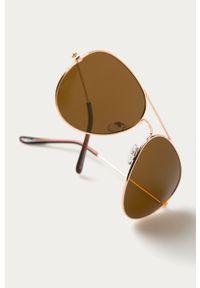 Złote okulary przeciwsłoneczne Answear Lab gładkie