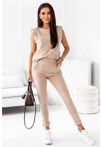 IVON - Dresowy Komplet Bluzka + Spodnie - Beżowy. Kolor: beżowy. Materiał: dresówka