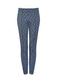 CATERINA - Granatowe spodnie z ananasowym wzorem. Kolor: niebieski. Materiał: wiskoza, żakard, elastan