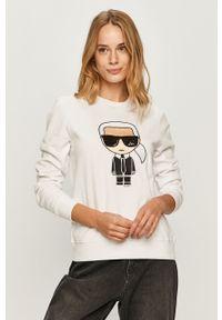 Biała bluza Karl Lagerfeld z okrągłym kołnierzem, na co dzień, z aplikacjami