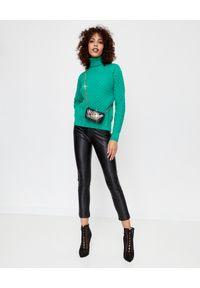 Pinko - PINKO - Zielony sweter z logo Nuvolosita. Typ kołnierza: golf. Kolor: zielony. Materiał: jeans, dzianina. Długość: długie. Wzór: kwiaty, ze splotem. Sezon: jesień, zima