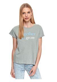 DRYWASH - T-shirt z napisem. Kolor: zielony. Materiał: tkanina, bawełna, jeans. Długość rękawa: krótki rękaw. Długość: krótkie. Wzór: napisy. Sezon: lato. Styl: sportowy