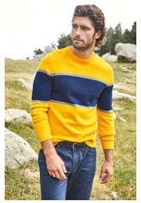 Żółty sweter bonprix w paski