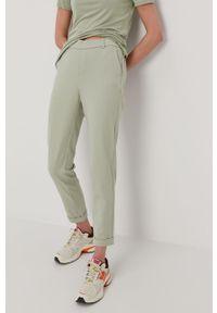 Zielone spodnie materiałowe Vero Moda gładkie, na co dzień, casualowe