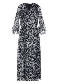 Sukienka maxi bonprix naturalno-niebiesko-czarny leo. Kolor: beżowy. Materiał: szyfon. Długość: maxi