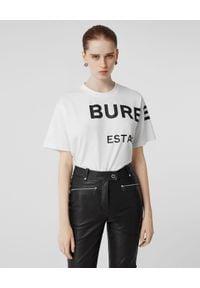 Burberry - BURBERRY - Biały T-shirt oversize. Okazja: na co dzień. Kolor: biały. Materiał: jeans, materiał. Wzór: nadruk. Styl: klasyczny, casual