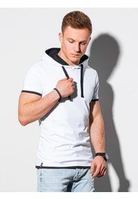 Biały t-shirt Ombre Clothing z kapturem