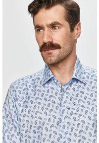 Niebieska koszula Emanuel Berg z włoskim kołnierzykiem, elegancka, długa