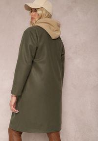 Renee - Ciemnozielony Płaszcz Dysiris. Kolor: zielony. Materiał: poliester. Długość rękawa: długi rękaw. Długość: długie. Styl: elegancki