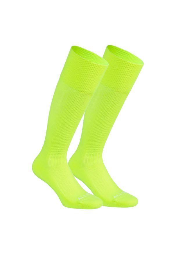 ALLSIX - Skarpety siatkarskie Allsix VSK500 wysokie. Kolor: żółty. Materiał: elastan, poliamid. Wzór: paski. Sport: siatkówka