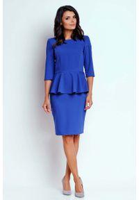 Nommo - Kobaltowa Wizytowa Sukienka Mini z Baskinką. Kolor: niebieski. Materiał: wiskoza, poliester. Typ sukienki: baskinki. Styl: wizytowy. Długość: mini