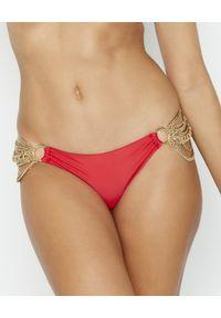 BEACH BUNNY - Dół od bikini Ball and Chain. Kolor: czerwony. Materiał: materiał. Wzór: aplikacja