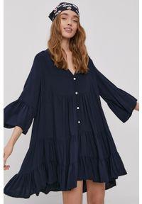 Haily's - Sukienka. Kolor: niebieski. Materiał: tkanina. Wzór: gładki. Typ sukienki: rozkloszowane