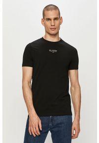 Czarny t-shirt Karl Lagerfeld z aplikacjami, klasyczny