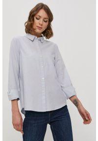 Pieces - Koszula bawełniana. Okazja: na co dzień. Kolor: niebieski. Materiał: bawełna. Długość rękawa: długi rękaw. Długość: długie. Wzór: gładki. Styl: casual