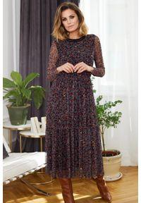 e-margeritka - Sukienka szyfonowa midi elegancka w zwierzęcy wzór - 46. Materiał: szyfon. Wzór: motyw zwierzęcy. Typ sukienki: rozkloszowane. Styl: elegancki. Długość: midi