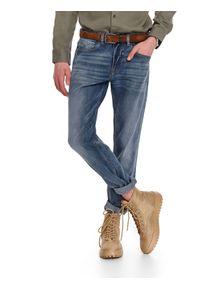 Niebieskie spodnie TOP SECRET klasyczne, w kolorowe wzory