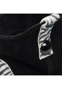 Czarne botki Eva Minge z aplikacjami, na średnim obcasie, na obcasie