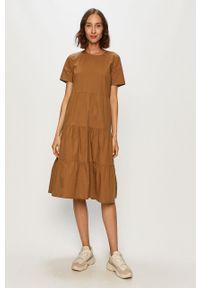 Sukienka Noisy may mini, z okrągłym kołnierzem, z krótkim rękawem, prosta