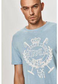 Polo Ralph Lauren - T-shirt. Okazja: na co dzień. Typ kołnierza: polo. Kolor: niebieski. Materiał: dzianina. Wzór: nadruk. Styl: casual