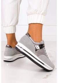 Kati - Szare sneakersy kati buty sportowe sznurowane polska skóra 7099. Kolor: złoty, wielokolorowy, szary. Materiał: skóra
