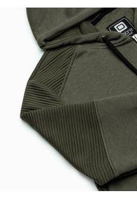 Ombre Clothing - Bluza męska rozpinana z kapturem B1074 - khaki - L. Typ kołnierza: kaptur. Kolor: brązowy. Materiał: tkanina, bawełna, poliester