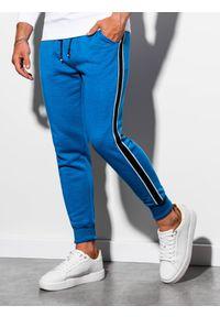 Niebieskie spodnie Ombre Clothing eleganckie, gładkie