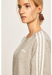 Adidas - adidas - Bluza. Kolor: szary. Materiał: dzianina. Długość rękawa: raglanowy rękaw. Wzór: gładki
