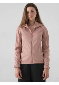 4f - Softshell damski. Typ kołnierza: kaptur. Kolor: różowy. Materiał: softshell