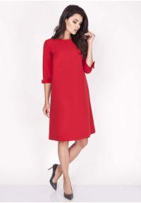 Nommo - Czerwona Sukienka Trapezowa Mini z Uroczymi Kokardkami. Typ kołnierza: kokarda. Kolor: czerwony. Materiał: wiskoza, poliester. Typ sukienki: trapezowe. Długość: mini
