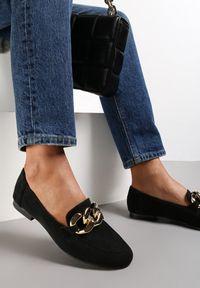 Renee - Czarne Mokasyny Trypheis. Wysokość cholewki: przed kostkę. Kolor: czarny. Materiał: jeans. Szerokość cholewki: normalna. Obcas: na obcasie. Styl: wizytowy. Wysokość obcasa: niski
