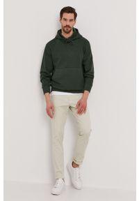 Selected - Bluza bawełniana. Okazja: na co dzień. Typ kołnierza: kaptur. Kolor: zielony. Materiał: bawełna. Styl: casual