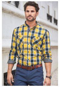 Koszula z długim rękawem w kratę bonprix żółty złocisty - ciemnoniebieski w kratę. Kolor: żółty. Długość rękawa: długi rękaw. Długość: długie