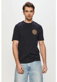 Niebieski t-shirt TOMMY HILFIGER z aplikacjami, na co dzień