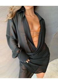 BANANHOT - Koszulowa czarna sukienka mini. Kolor: czarny. Materiał: materiał. Sezon: lato. Typ sukienki: koszulowe. Długość: mini