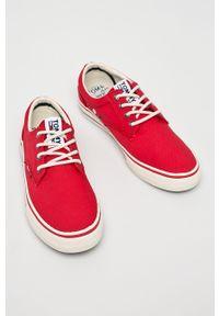 Czerwone niskie trampki Tommy Jeans z cholewką, z okrągłym noskiem, na sznurówki