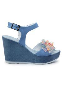 Niebieskie sandały R.Polański na co dzień, z aplikacjami, casualowe