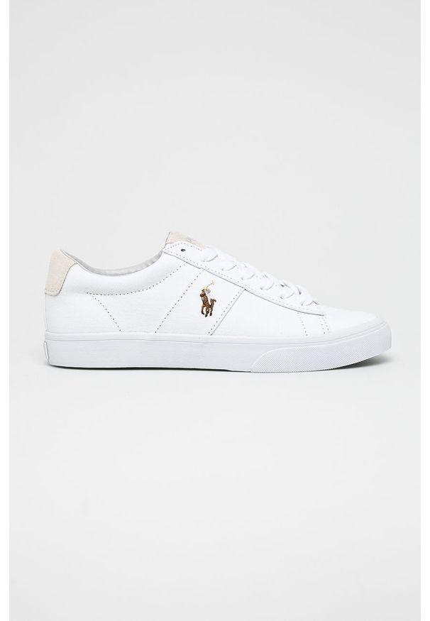 Białe sneakersy Polo Ralph Lauren na sznurówki, z cholewką