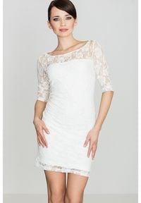 e-margeritka - Sukienka z koronki ecru - m. Okazja: na wesele, na komunię, na ślub cywilny. Materiał: koronka. Wzór: koronka. Styl: elegancki. Długość: mini