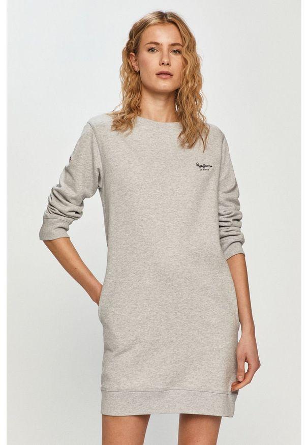 Szara sukienka Pepe Jeans z długim rękawem, prosta, casualowa, na co dzień