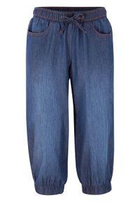 Rybaczki dżinsowe z bawełny, z wygodnym paskiem i ściągaczem bonprix ciemnoniebieski denim. Kolor: niebieski